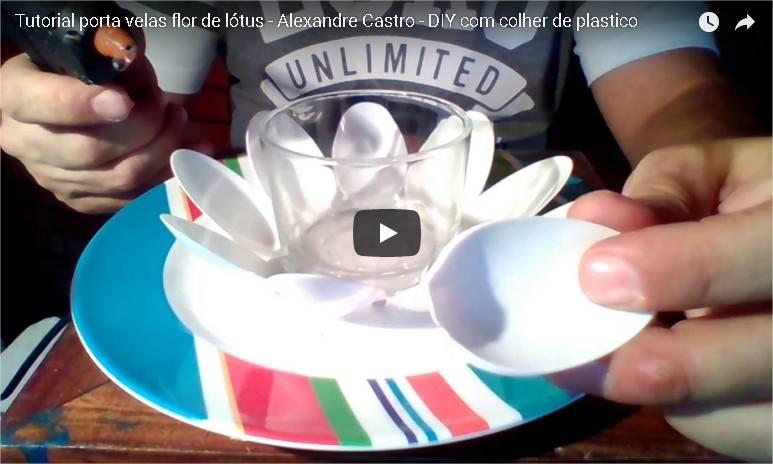 Tutorial Porta Velas Flor de Lótus - Luminária feita de colheres de plástico