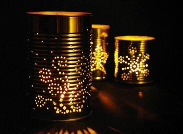 luminárias feitas de latas