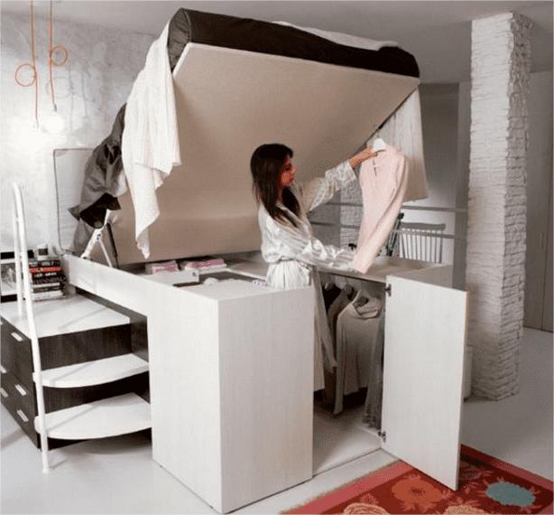 Ideias de cama com closet - Moveis para pequenos espaços
