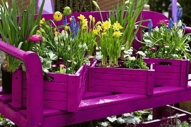 caixotes para decorar o jardim